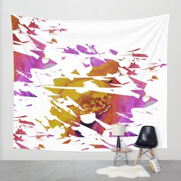 Abstract Acrylic Painting Broken Glass PURPLE AND YELLOW Wall Tapestry by Saribelle Inspirational Art | Society6