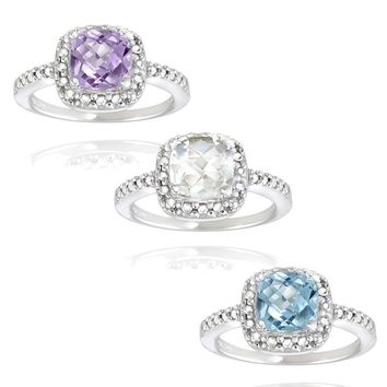 925 Silver Gemstone & Diamond Square Ring - 3 Options