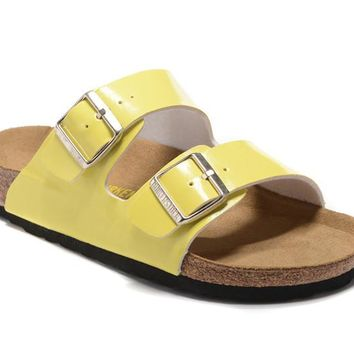 Birkenstock Summer Fashion Yellow Leather Cork Flats Slippers Casual Sandals