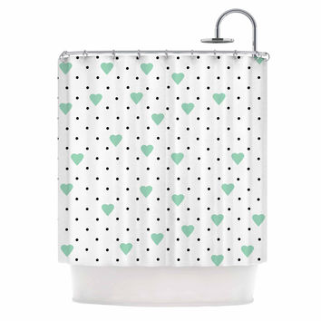 "Project M ""Pin Point Polka Dot Mint"" Green White Shower Curtain"