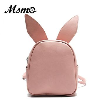 MSMO Small Backpack with Three Pairs of Ears Can Replace the Small Back Pack Cute Modeling Trend Backpack Bat Wing Shoulder Bag