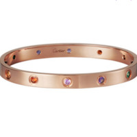 Cartier Love 18K Rose Gold Color Gemstone exquisite bracelet B6036517