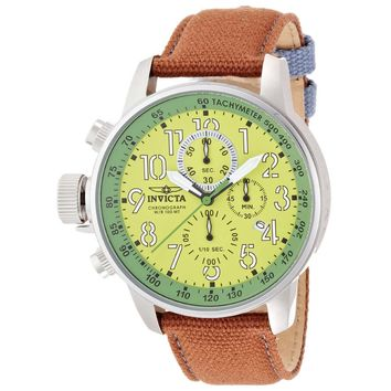 Invicta 12078 Men's I-Force Lefty Green Dial Brown Fabric & Leather Strap Chronograph Watch