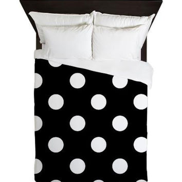 Duvet Cover - Black and White Polka Dots Duvet Cover - Glamour Decor - Fashion Decor - Dorm Decor - Teen Room Decor - Girls Room