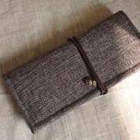 Cotton and Linen wallet, handmade wallet, fasion wallet, woman wallet, long wallet, gift for her,simple wallet,natural style wallet,birthday