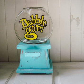 Aqua Vintage Wooden Manual Bubble Gum Dispenser, Bubble Gum Machine, Teal Wooden Candy Dispenser, Unique Gift Ideas, Party Decor, Bubble Gum