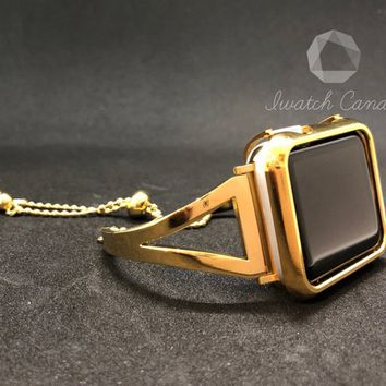 Gold 38mm 42mm Apple Watch Band Cuff Bangle Chain Gold Matching Gold Metal Aluminum 18K Plated Case Cover Bezel Protection