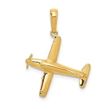 14k Yellow Gold 3D Low-Wing Airplane Pendant