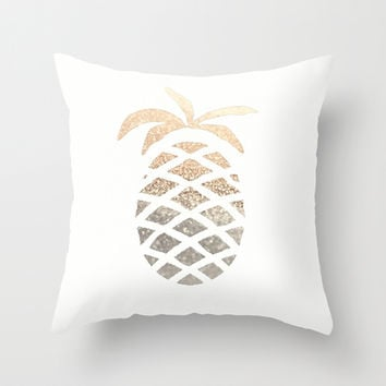 GOLD PINEAPPLE Throw Pillow by Monika Strigel