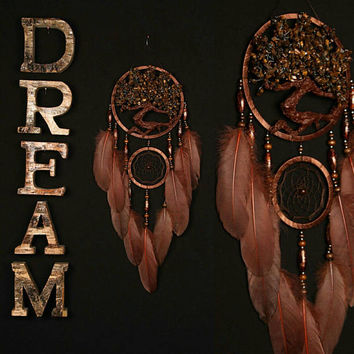 Brown Dream Catcher Dreamcatcher Tree of life tiger eye brown Dream сatchers tiger eyes wall handmade gold Brown gift small dream catchers