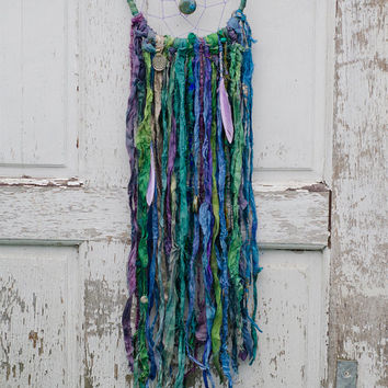 Bohemian Dreamcatcher, Enchanted Forest, Green, Blue, Purple, Hippie Decor, Boho, Wall Hanging, Gypsy Art, Home Decor, Fair Trade Sari Silk