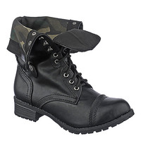 Shiekh Oralee-S Women's Black Fold Over Combat Boot | Shiekh Shoes