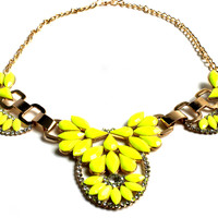 """Lime Crime"" Jeweled Gold Statement Necklace"