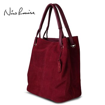 Nico Louise Women Real Split Suede Leather Tote Bag