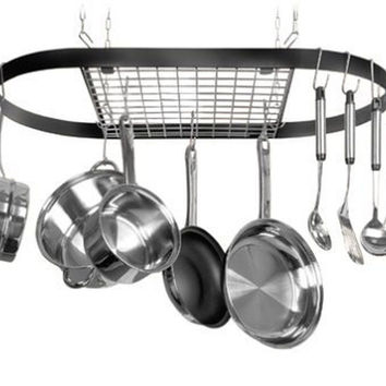 Kinetic Classicor Series Wrought-Iron Oval Pot Rack 12021 Black