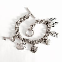 Sterling Silver Double Link Charm Bracelet 7.5 Inch with Toggle Clasp and 6 Love Charms - Puffed Heart Locket Charm and Abalone Butterfly