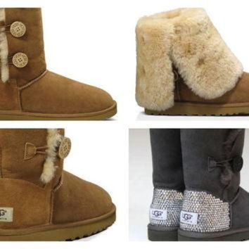 CREY1O Custom UGG Boots made with Swarovski Bailey Button Triplet Free: Shipping, Repair Kit,