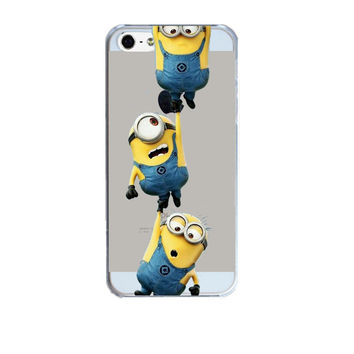 Minion Design Hard Plastic Transparent Phone Skin Back Case Cover For Apple iPhone 5 5S SE