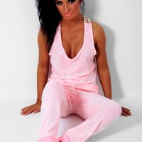 Monika Coral & White Drawstring Lounge Pants | Pink Boutique