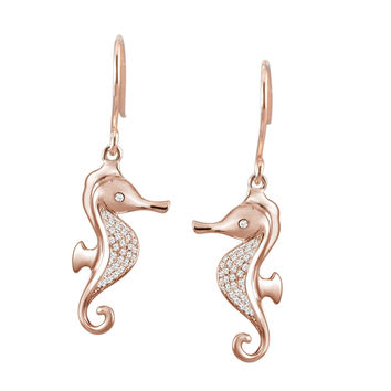 ROSE GOLD ON SOLID 925 STERLING SILVER HAWAIIAN SEAHORSE CZ WIRE HOOK EARRINGS