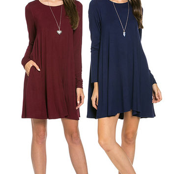 Apparel- Best Selling Bamboo Long Sleeve Dress with Pockets