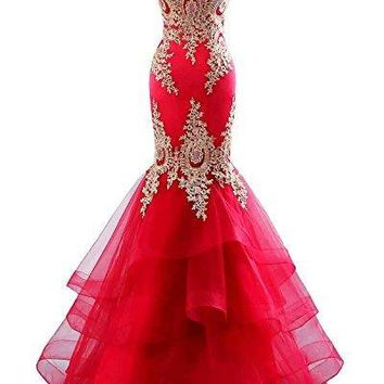 Changuan Mermaid Evening Dress For Womens Backless Formal Long Dresses With Embroidery Red-10