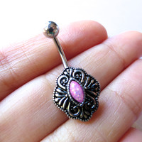 Pink Opal Belly Button Ring Navel Piercing Shield Medallion Bar