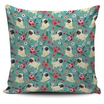 Pug Flower Pillow Cover