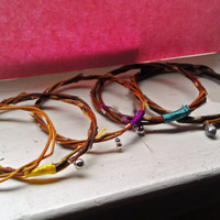 Small Sized Willow Branch Bangle - Boho Nature Bracelet with Silver Bead Accent and Red, Yellow, Teal, Plum, Silver or Light Pink Cord