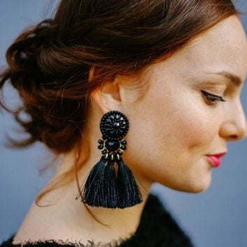 ROPALIA 2018 Women Ethnic Vintage Long Dangle Fringe Earrings Boho Indian Jewelry Statement Tassel Drop Earrings For Female Gift