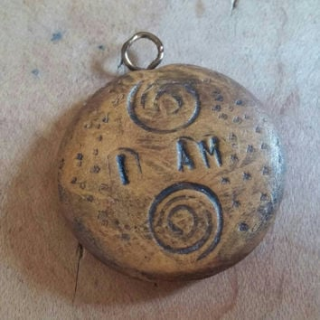 I Am | Mantra Pendant | Mantra Charm | Polymer Clay Pendant | Gold Clay Pendant | Stamped Pendant | Stamped Charm | Wearable Art