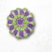 Crochet Covered Stone, Valentine's Day, Lace Stone, Paperweight, Home Decor, Beach Wedding,  Fiber Art Object, Light Green Purple