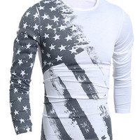 Star Stripes Print Color Block Long Sleeves T-Shirt