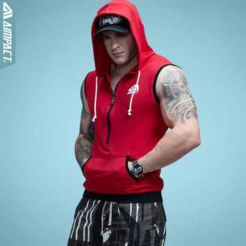 Aimpact Men's Fit Sleeveless Tapered Zip Hoodie Bodybuilding Tank Tops Crossfit Workout Sleeveless Jackets Terry Top Male AM1012