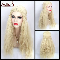 Adiors Long Middle Braid Bang Shaggy Curly Synthetic Cosplay Wig