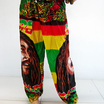Pants PDJ62 Bob Meley Aladdin Harem Trousers Genie Men Boho Hippie Rasta Ska Reggae Woman