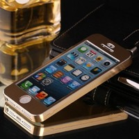 Amjimshop Luxury Brushed Aluminum Metal Alloy Full Body Case Cover for Iphone 5 5g 5s (gold)