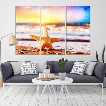 28361 - Starfish on Sea Beach and Colorful Sky Wall Art Canvas Print