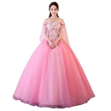 Candy Color Evening Dress Off the Shoulder Exquisite Embroidery Pattern Women Party Appliques