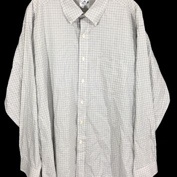 Brooks Brothers Sports Shirt Cotton Beige Plaid Button Front Pocket Shirt Mens L - Preowned