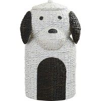 Puppy Power Wicker Laundry Hamper Basket