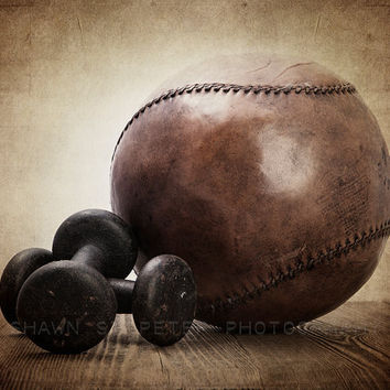 Vintage Iron Weights and Medicine Ball 8x10 print , Decorating Ideas, Wall Decor, Wall Art, Rustic Decor, Man cave, Gym Decor