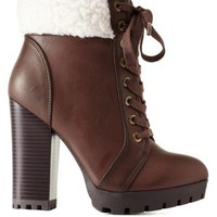 Brown Bamboo Shearling-Cuffed High Heel Combat Booties