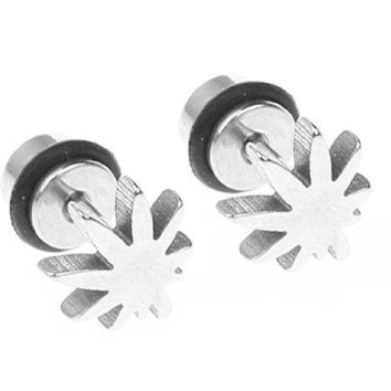 BodyJ4You Fake Plugs Weed Pot Leaf  Gauges 316L Stainless Steel 16G Studs Earrings Illusion Jewelry