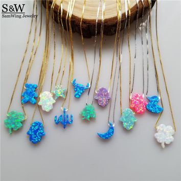 Factory Process 925 Silver Opal Hamsa Necklace Opal Star Opal Christmas Tree Different Shape Opal Necklace for Gift