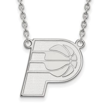 NBA Indiana Pacers Large Pendant Necklace in 10k White Gold - 18 Inch