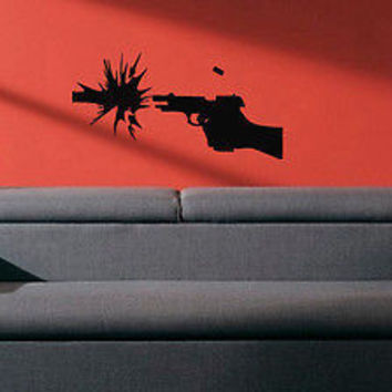 Wall Vinyl Decals Sticker Room Decor Guns Shooting Pistol with Patrons KJ2914