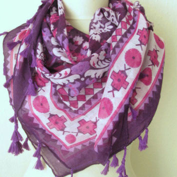 SQUARE Tasseled Turkish Cotton  Scarf ..%100 Cotton..