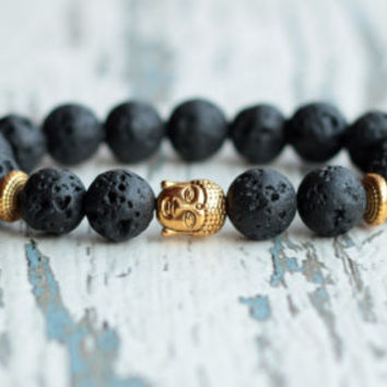 Buddha bracelet black Gold Buddha beaded bracelet meditation buddhist jewelry mens Tibetan lava bracelet gemstone gift for friend him zen