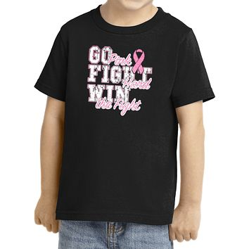 Kids Breast Cancer T-shirt Go Fight Win Toddler Tee